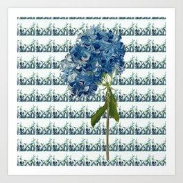 BLUE HYDRANGA GRASSY FIELD Art Print