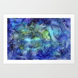 Space Galaxy Blue Green Watercolor Nebula Painting Art Print