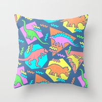 yetiland Throw Pillows featuring Nineties Dinosaur Pattern by chobopop