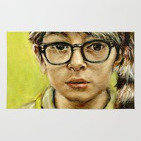jared leto Area & Throw Rugs featuring Sam - Moonrise Kingdom - Jared Gilman by Heather Buchanan