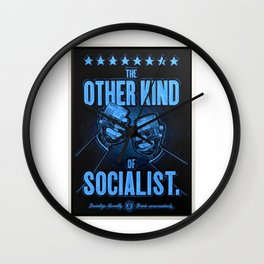"""Vintage Poster """"The Other Kind of Socialist"""" Alcoholic Lithograph Advertisement in dark blue Wall Clock"""