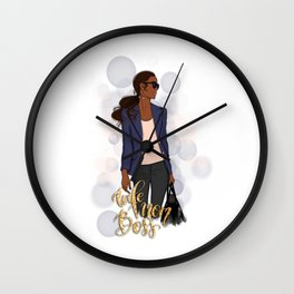 Wife Mom Boss | African American Lady Boss Wall Clock