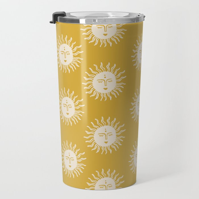Yellow Sun Pattern Travel Mug