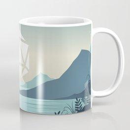 Sunrise Between Mountains Lake D20 Dice Sun Tabletop RPG Landscape Coffee Mug
