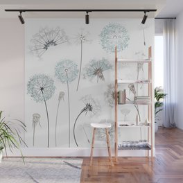 Hand drawn vector dandelions in rustic style Wall Mural