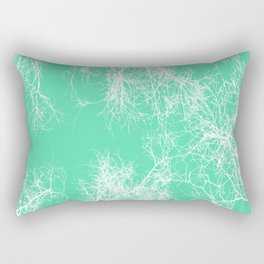 White silhouetted trees on green Rectangular Pillow