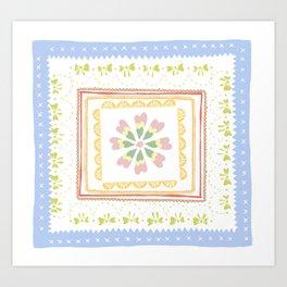 Vintage Handkerchief Pattern Art Print