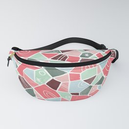 Coral and Mint Solid Shapes Fanny Pack