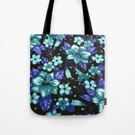 Tropical  Floral Turquoise Tote Bag