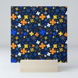 Blue flowers pattern  Mini Art Print