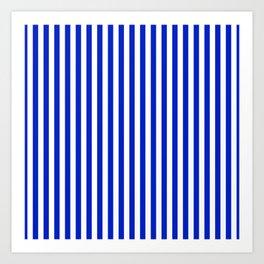 Cobalt Blue and White Vertical Deck Chair Stripe Art Print