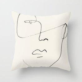 Abstract Minimal Face Line 02 in Beige Throw Pillow