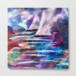 Sailing The Coast Of San Diego by Sherri Of palm Springs/ abstract Metal Print