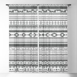 Boho Aztec Inspired Pattern Sheer Curtain