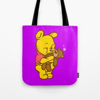 pooh Tote Bags featuring Pooh And Teddy by Artistic Dyslexia