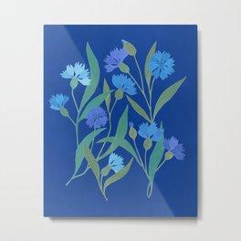 Cornflower field on bright blue Metal Print