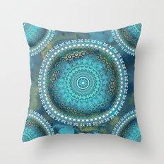 Aqua Cloud Mandala Throw Pillow