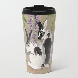 Two Rabbits Under Wisteria Tree Travel Mug