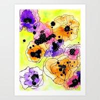 Splat Flowers Art Print
