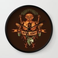 army Wall Clocks featuring Royal Army by Hillary White