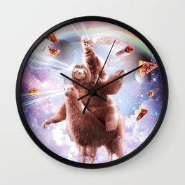 Laser Eyes Space Cat Riding Sloth, Llama - Rainbow Wall Clock