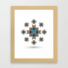 aztec cross mandala Framed Art Print