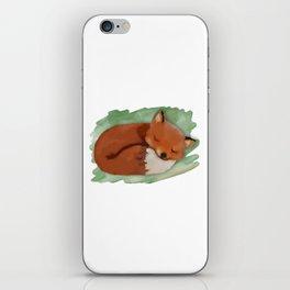 Sleepy Watercolor Fox iPhone Skin