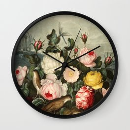 Pink  Red Floral : New Illustration Of The Sexual System Wall Clock