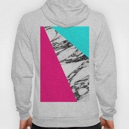 Modern Pink Teal Black White Marble Geometric Tricut Hoody