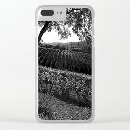 Vineyard in California Black & White Pencil Drawing Photo Clear iPhone Case