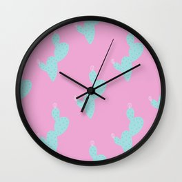 Teal Cactus w/pink background Wall Clock