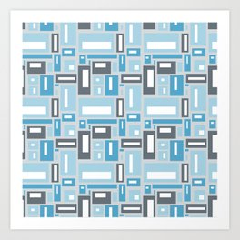 Geometric Pattern in Blue and Gray Art Print