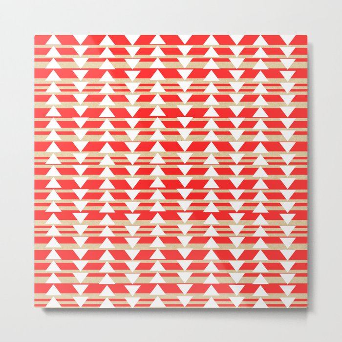 Tribal- Red & White Metal Print