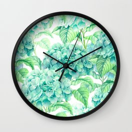Hand painted green watercolor hydrangea floral pattern Wall Clock