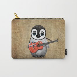 Baby Penguin Playing Bermudian Flag Acoustic Guitar Carry-All Pouch