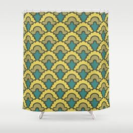 Fan Pattern Yellow Teal and Olive Green 308 Shower Curtain