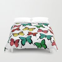 butterflies Duvet Covers featuring Butterflies by Julia Badeeva