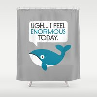 fitness Shower Curtains featuring Water Weight by David Olenick