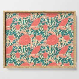 Turtles in Coral Reef Pattern Serving Tray