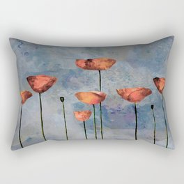 Poppyfield against the blue sky - abstract watercolor artwork Rectangular Pillow