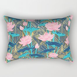 Art Deco Lotus Flowers in Pink & Navy Rectangular Pillow