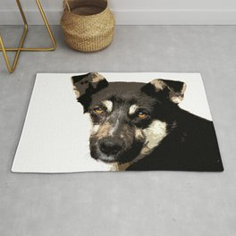 Homeless dog face art print Rug