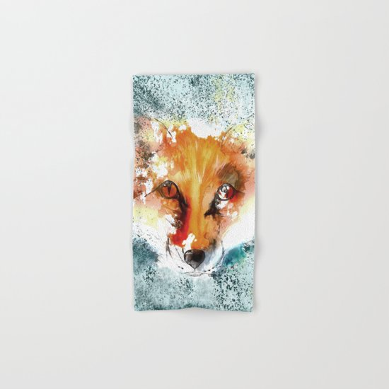 Wild wild Fox - Animal in the forest- watercolor illustration Hand & Bath Towel