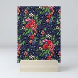 Super-saturated Leopard Print Floral Mini Art Print