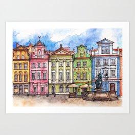 Poznan houses ink & watercolor illustration Art Print