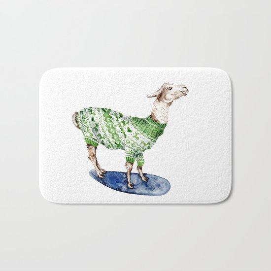 Llama in a Green Deer Sweater Bath Mat