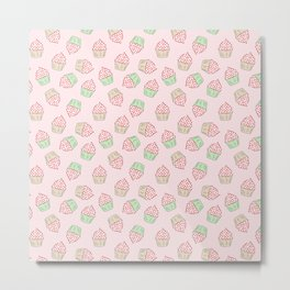 Cupcakes - Pink and Mint Doodle Pattern Metal Print