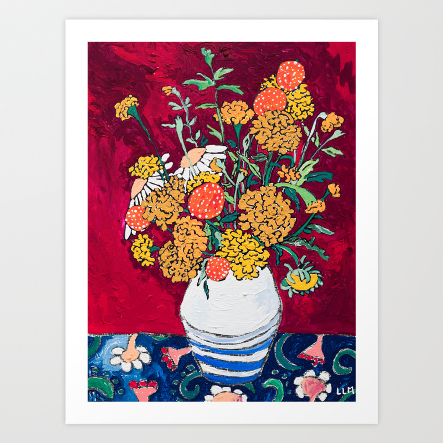 Marigold Daisy And Wildflower Bouquet Fall Floral Still Life Painting On Eggplant Purple Art Print By Larameintjes Society6