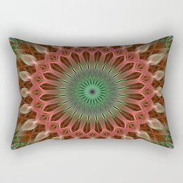 Mandala with green and red ornaments Rectangular Pillow