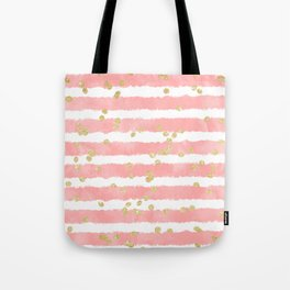 Modern blush pink watercolor stripes gold confetti pattern Tote Bag